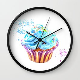 Cupcake watercolor illustration Wall Clock
