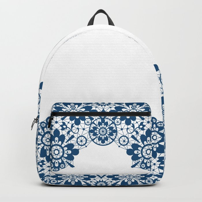 Blue lace on white background . Backpack