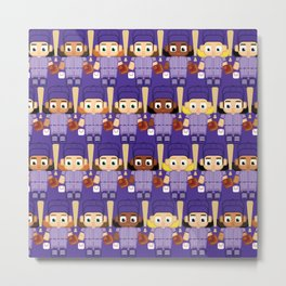 Baseball Purple - Super cute sports stars Metal Print