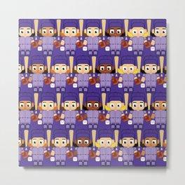 Baseball Purple - Super cute sports stars Metal Print