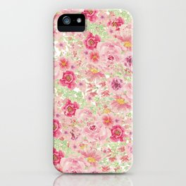 Pastel pink red watercolor hand painted floral iPhone Case