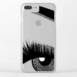 Silver eye makeup Clear iPhone Case