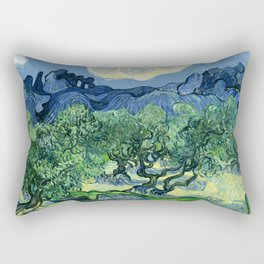 Olive Trees Painting by Vincent van Gogh Rectangular Pillow