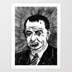36. Zombie Lyndon B. Johnson Art Print