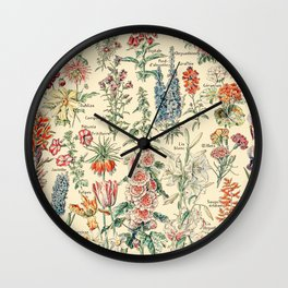 Vintage Floral Drawings // Fleurs by Adolphe Millot 19th Century Science Textbook Artwork Wall Clock