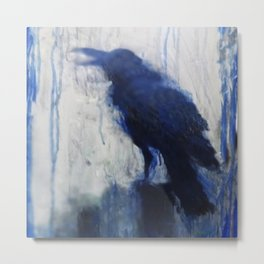 Contemporary Blue Raven Weather Abstract Painting  Metal Print