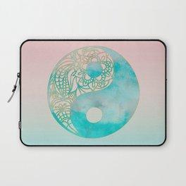 Yin Yang Watercolor Esoteric Symbol teal and soft pink #yinyang Laptop Sleeve