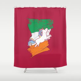 Distressed Irish Flag St Patricks Unicorn Pink Shower Curtain