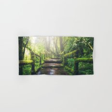 Green Jungle Forest Path Hand & Bath Towel
