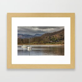 Windermere lakes and boats landscape Framed Art Print