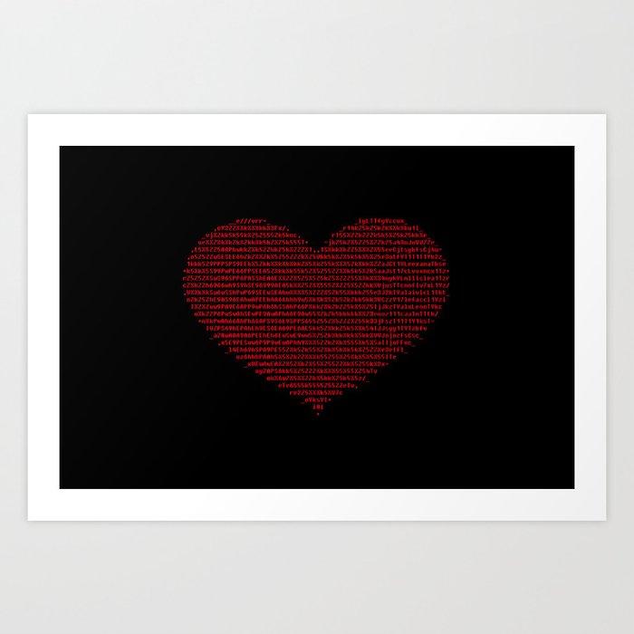 Ascii Heart C64 Art Print By Grenar Society6