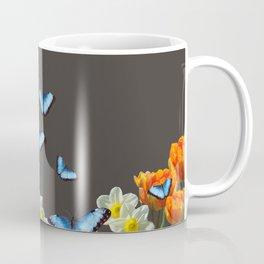 Daffodils Flowers blue Morph Butterfly - black background Coffee Mug