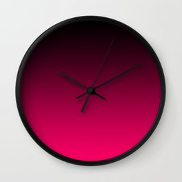 Modern Black and Bright Pink Ombre Wall Clock