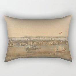 Vintage Pictorial Map of New York City (1844) Rectangular Pillow