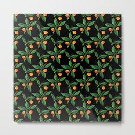 Black green orange watercolor berries leaves pattern Metal Print