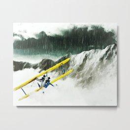 EYE OF THE STORM Biplane, Storm, Mountains Metal Print