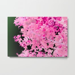 Abstract Tree Landscape Dark Botanical Art, green, black and pink Metal Print