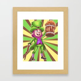 Leprechaun's Cheers for Beers Framed Art Print