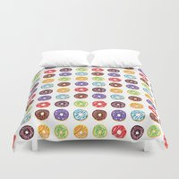 doughnut Duvet Covers featuring Doughnut delights by Phibbit