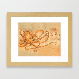 Octopus Drinking Tea Framed Art Print