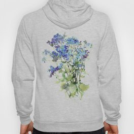 Forget-me-not watercolor aquarelle flowers Hoody