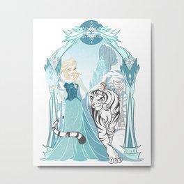 Frozen White Tiger Metal Print