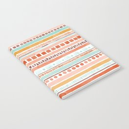 Boho Stripes - Watercolour pattern in rusts, turquoise & mustard. Nursery print Notebook