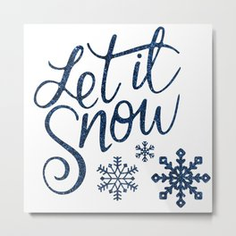 Let It Snow Blue Glitter Typography Winter Metal Print