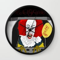 pennywise Wall Clocks featuring Pennywise AKA The Clown by ItalianRicanArt