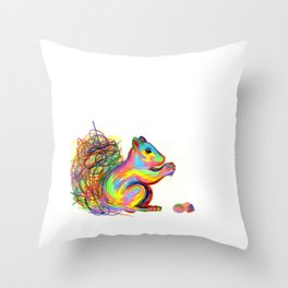 psychedelic squirrel Throw Pillow
