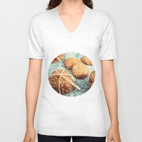 cookies V-neck T-shirts featuring Cookies by Leonor Saavedra