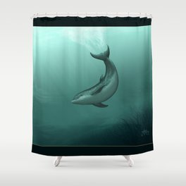 """Siren of the Lagoon"" by Amber Marine ~ Indian River Lagoon Bottlenose Dolphin Art, (Copyright 2015) Shower Curtain"