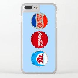 Big 3 bottle caps Clear iPhone Case
