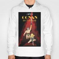 conan Hoodies featuring Conan the Barbarian Minimalist Poster by Sean Breeding Arthouse