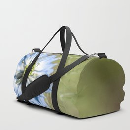 Blue flower close up Nigella love in the mist Duffle Bag