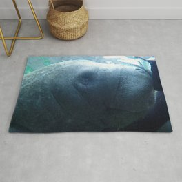 Watercolor People in Nature, AaP, Adult 16, and Manatee, Crystal River, Florida Rug