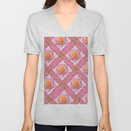 CREAMY  ROSES & RAMBLING THORNY CANES ON  PINK  DIAGONAL PATTERNS Unisex V-Neck