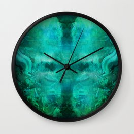 """Abstract aquamarine, deep waves"" Wall Clock"