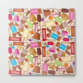 sweets seamless pattern (lollipop, candy cane, pudding in dish, birthday cake with candles) Metal Print