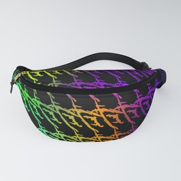 Interweaving pattern of neon squiggles and green ropes on a black background. Fanny Pack