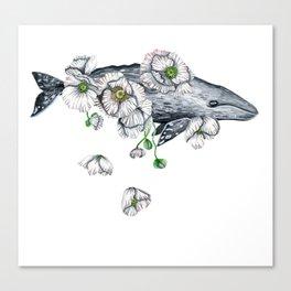 Whale & White Poppies Canvas Print