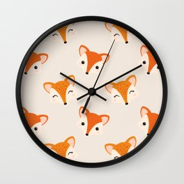 Cute Smiling Fox Head Illustration with Light Background Wall Clock