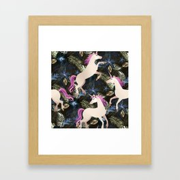 Unicorns and Flowers Framed Art Print