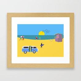 Surfer beach Framed Art Print