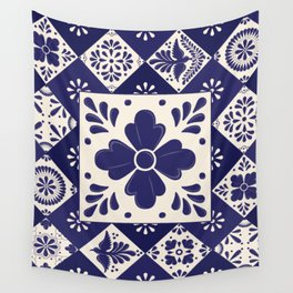 Mexican Blue Flower Talavera Mosaic Pattern Wall Tapestry