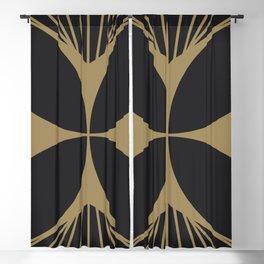 Diamond Series Floral Cross Gold on Charcoal Blackout Curtain