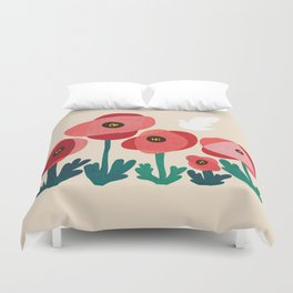 Poppy flowers and bird Duvet Cover