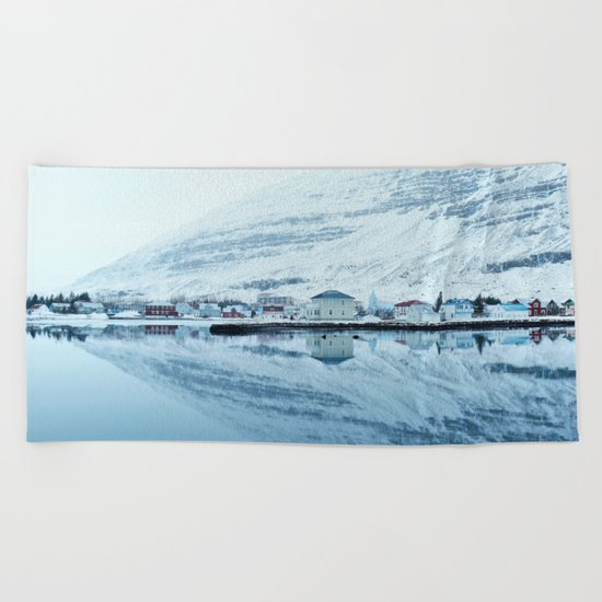 Houses by the water reflect Beach Towel