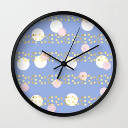 Marble and gold dots Wall Clock