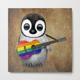 Baby Penguin Playing Gay Pride Rainbow Flag Guitar Metal Print